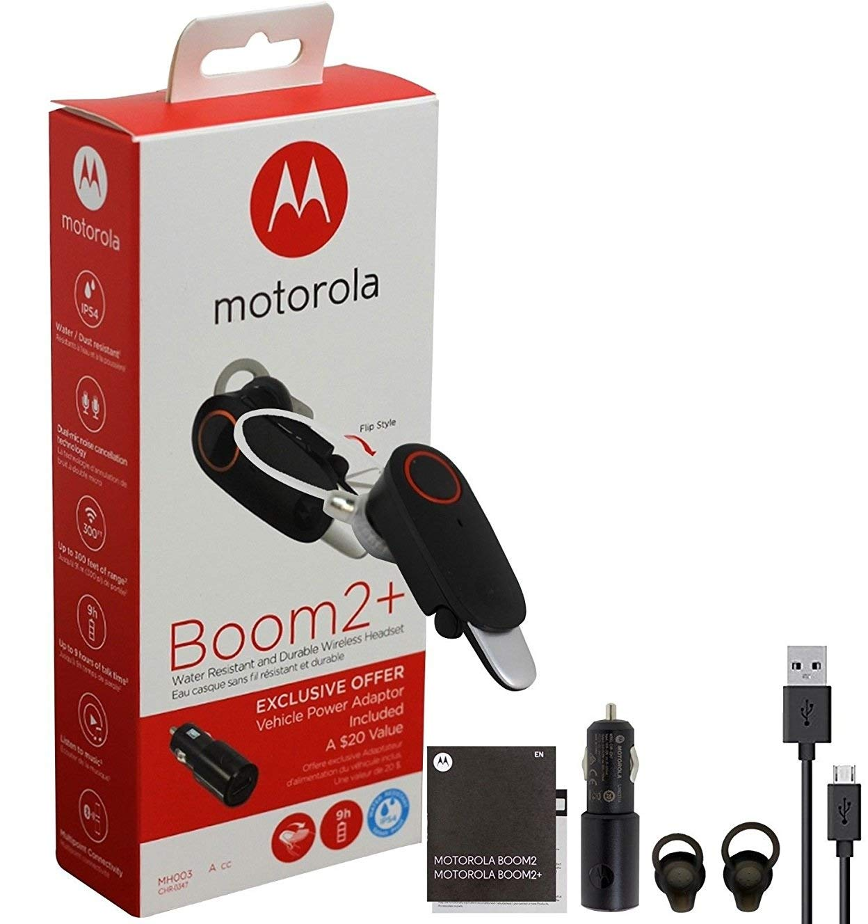 Motorola Boom 2+''HD Flip Bluetooth - Water Resistant Durable Wireless Headset W/Car Charger, (US Retail Packing