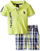 U.S. Polo Assn. Little Boys' Pique Polo and Plaid Short Set