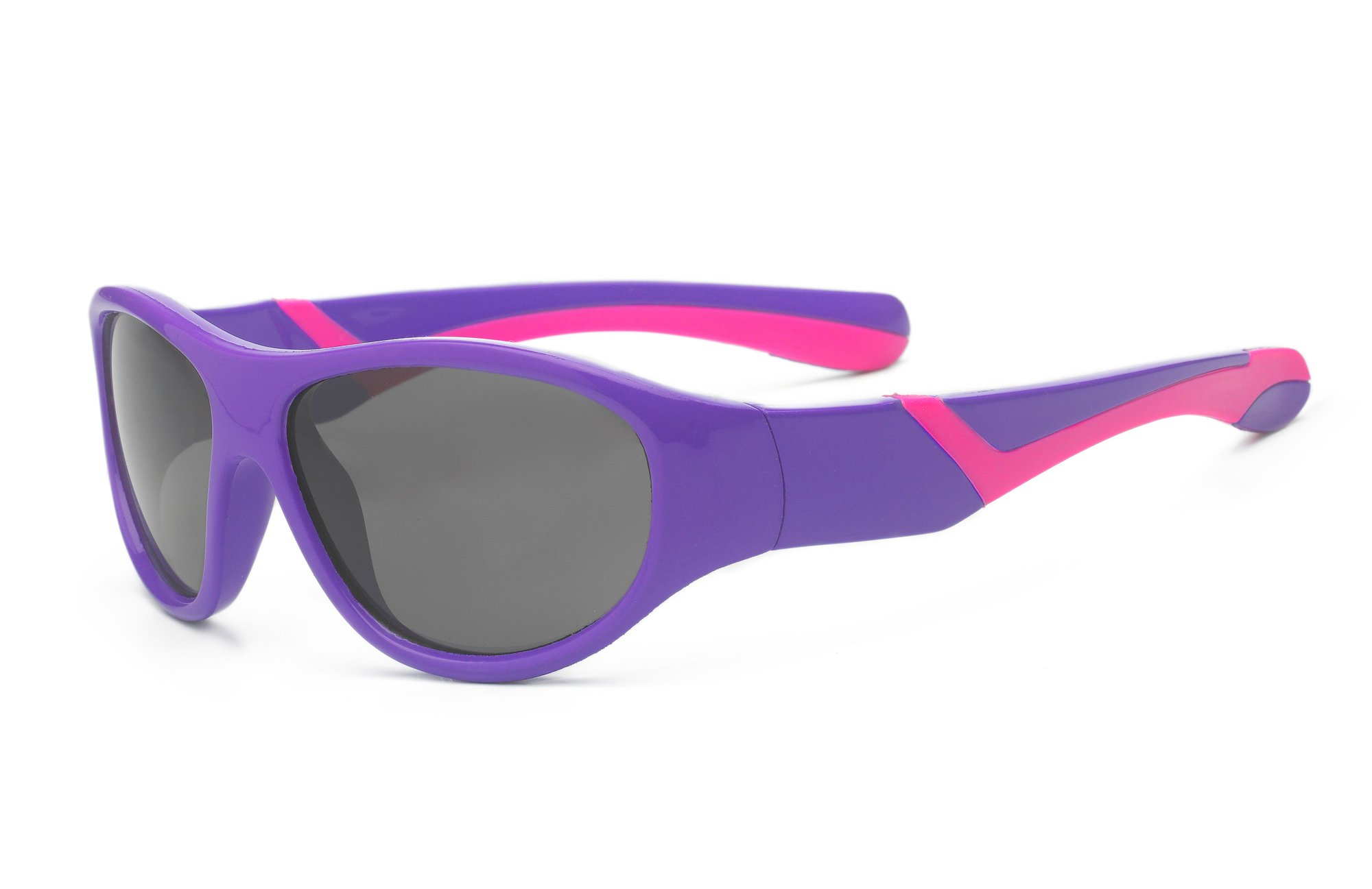 Real Kids Shades Discover Sunglasses for Toddler, Kid, Youth - 100% UVA UVB Protection, Polycarbonate Lenses, Unbreakable, Wrap Around Frames (Toddler 2+, Purple/Pink, Polarized)
