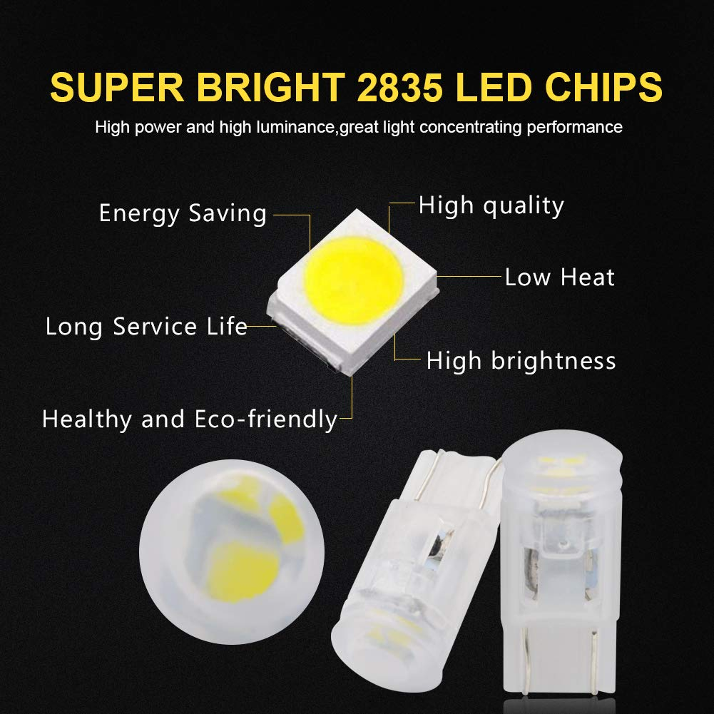 LncBoc T10 501 LED Bulbs Wedge 3-SMD 3030 LED W5W 194 168 Car Interior Exterior Dome Number Plate Light Replacement Bulbs White 12v 2-Pack