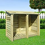 COTTESMORE 4FT WOODEN LOG STORE/GARDEN STORAGE, GREEN, HEAVY DUTY, HAND MADE, PRESSURE TREATED.