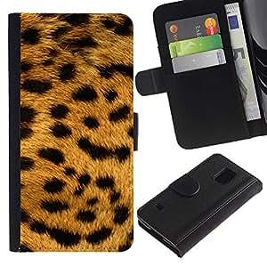 JackGot ( Texture Big Cat modello Leopard ) Samsung Galaxy S5 V SM-G900 la tarjeta de Crédito Slots PU Funda de cuero Monedero caso cubierta de piel