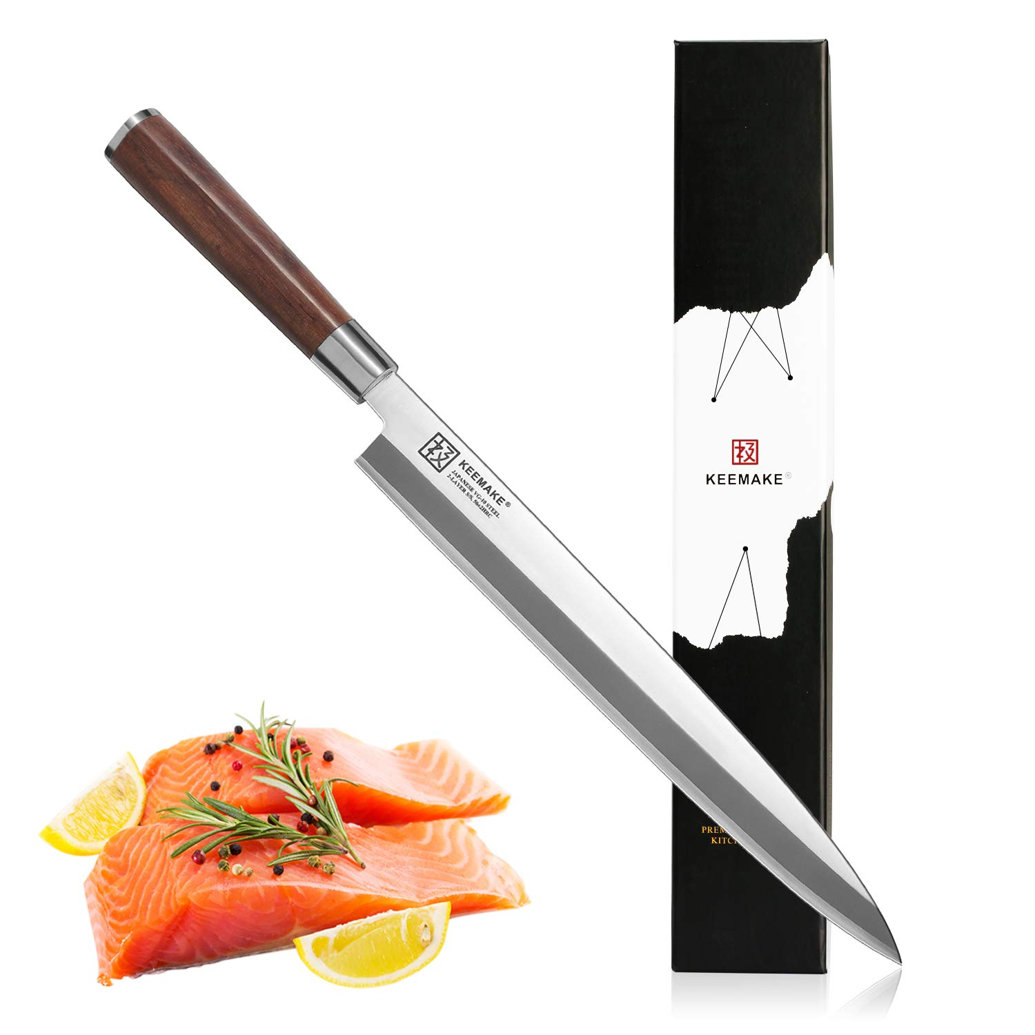 Sushi Knife, KEEMAKE Sashimi Yanagiba Knife Japanese - VG10 2-Layer Ply Steel Blade with Brazilian Pear Wood Handle by KEEMAKE