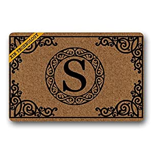 "Artsbaba Personalized Monogrammed Letter Doormat Acanthus Border Doormats Monogram Non-Slip Doormat Non-woven Fabric Floor Mat Indoor Entrance Rug Decor Mat 23.6"" x 15.7"""