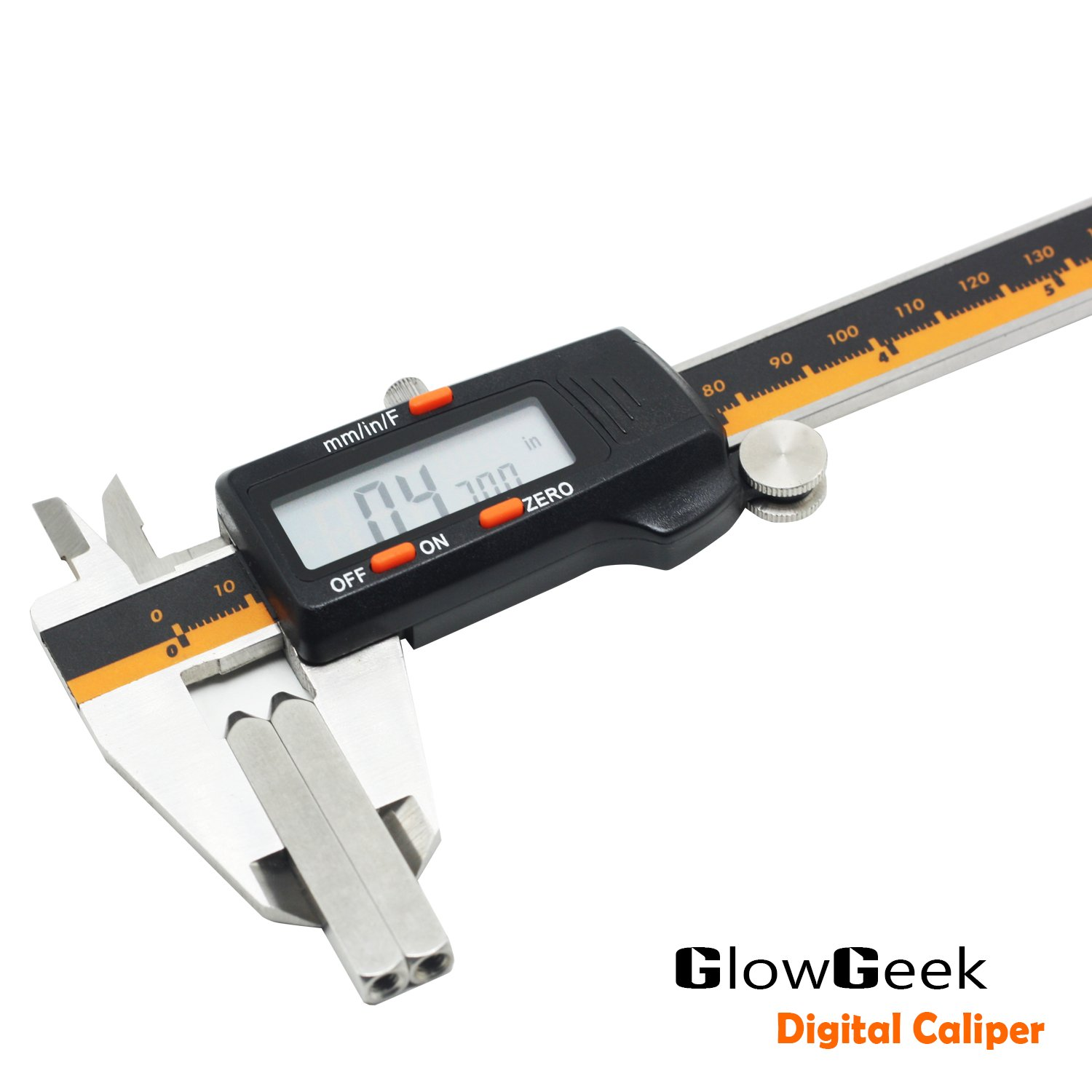 GlowGeek Electronic Digital Caliper Inch/Metric/Fractions Conversion 0-6 Inch/150 mm Stainless Steel Body Orange/Black Extra Large LCD Screen Auto Off Featured Measuring Tool by GlowGeek (Image #6)