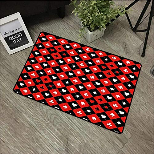 Fakgod Outdoor Doormat Poker Tournament Decorations Card Suit Chess Board Classic Checkered Pattern Symbols Machine-Washable/Non-Slip 24
