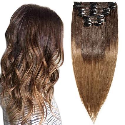Extension Capelli Veri Clip Volumizzante Shatush 45cm 140g 8 Fasce Folte Double Weft Full Head 100 Remy Human Hair Lisci 2 Marrone Scuro Ombre 6
