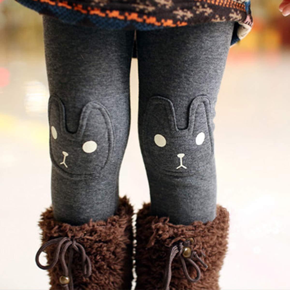 puseky Baby Girl Kids Toddler Winter Leggings Cute Bunny Thick Warm Fleece Long Pants