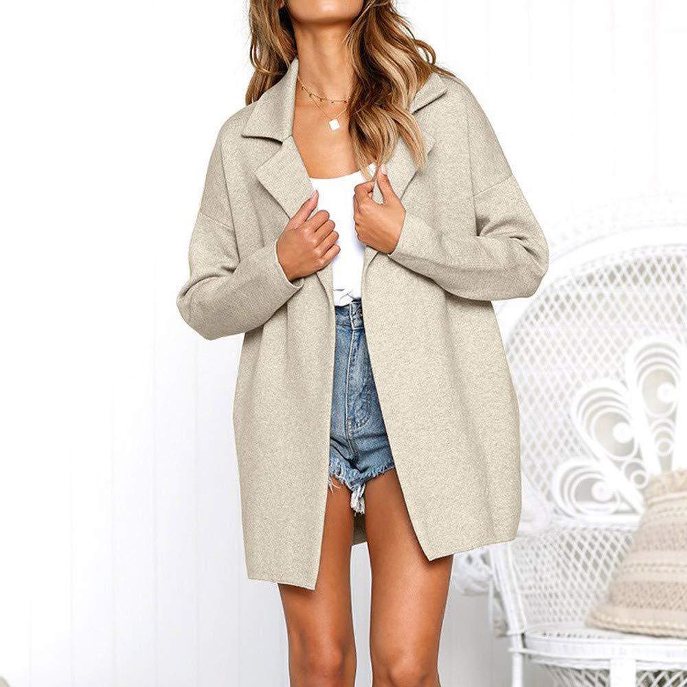 ❤ Abrigo Corto de Mujer, Solid Turndown Collar Long Sleeve Jacket Long Coat Absolute: Amazon.es: Ropa y accesorios