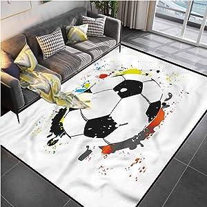 Area Rugs Print Large Carpet Boys Room,Grunge Soccer Ball Office Chair mat for Carpet for Kids Yoga Living Room Home Decor Rugs 4'x6'