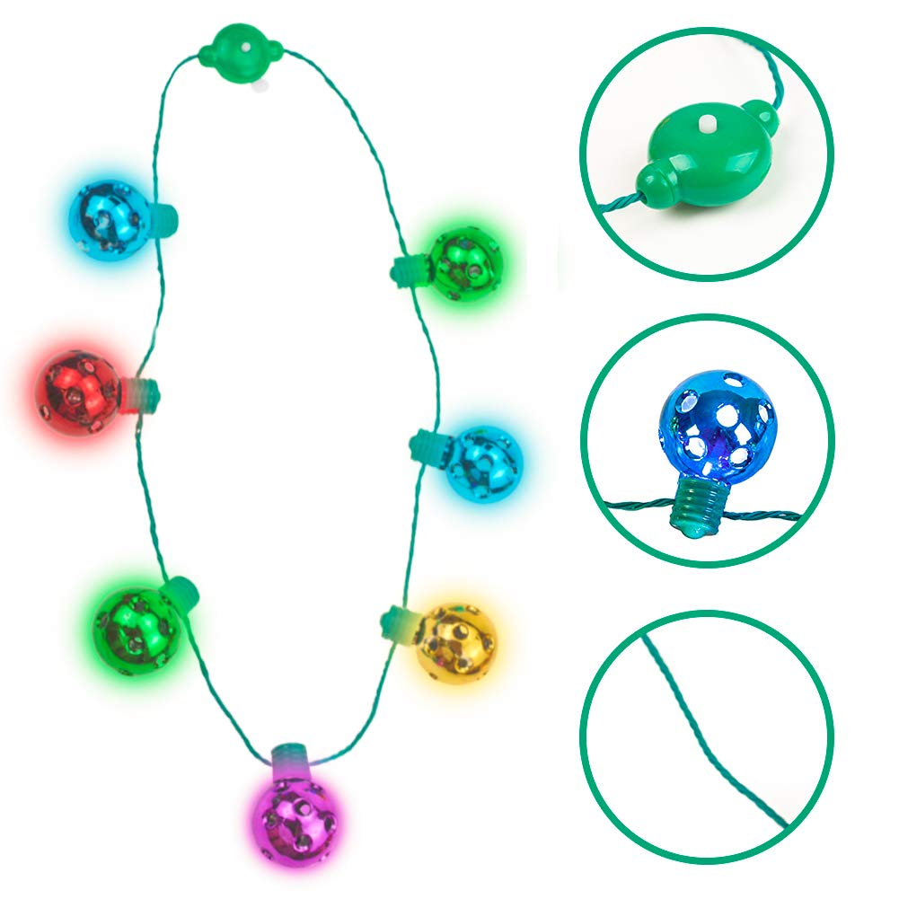 FuturePlusX Light Up Jingle Bell Necklace, Christmas Ball Necklace LED Holiday Party Necklace