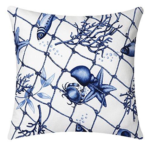 Throw Pillows Indoor Outdoor Pillows Couch Nautical Beach Blue Fish Net 18