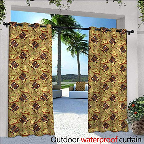 Velour Vintage Hat - warmfamily Western Fashions Drape Vintage Hats and Boots Outdoor Curtain Waterproof Rustproof Grommet Drape W108 x L96