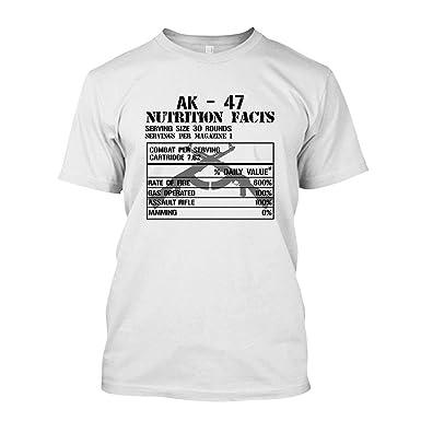 733516ca EZARO AK-47 Nutrition Facts Short Sleeve Shirt, Tee Shirt Design White,S