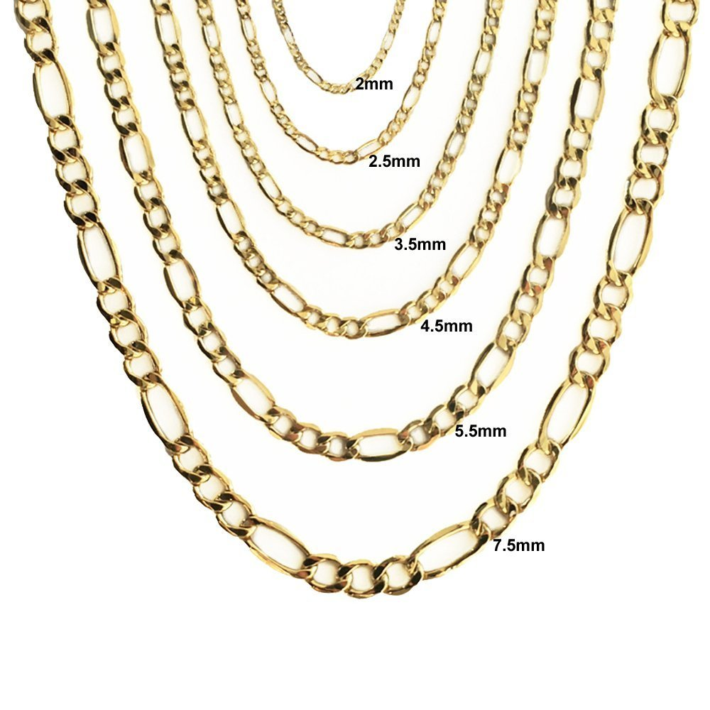 """10K Hollow Yellow Gold 3.5mm Figaro Link Chain Necklace 16-30/"""" by Joule Shop"""