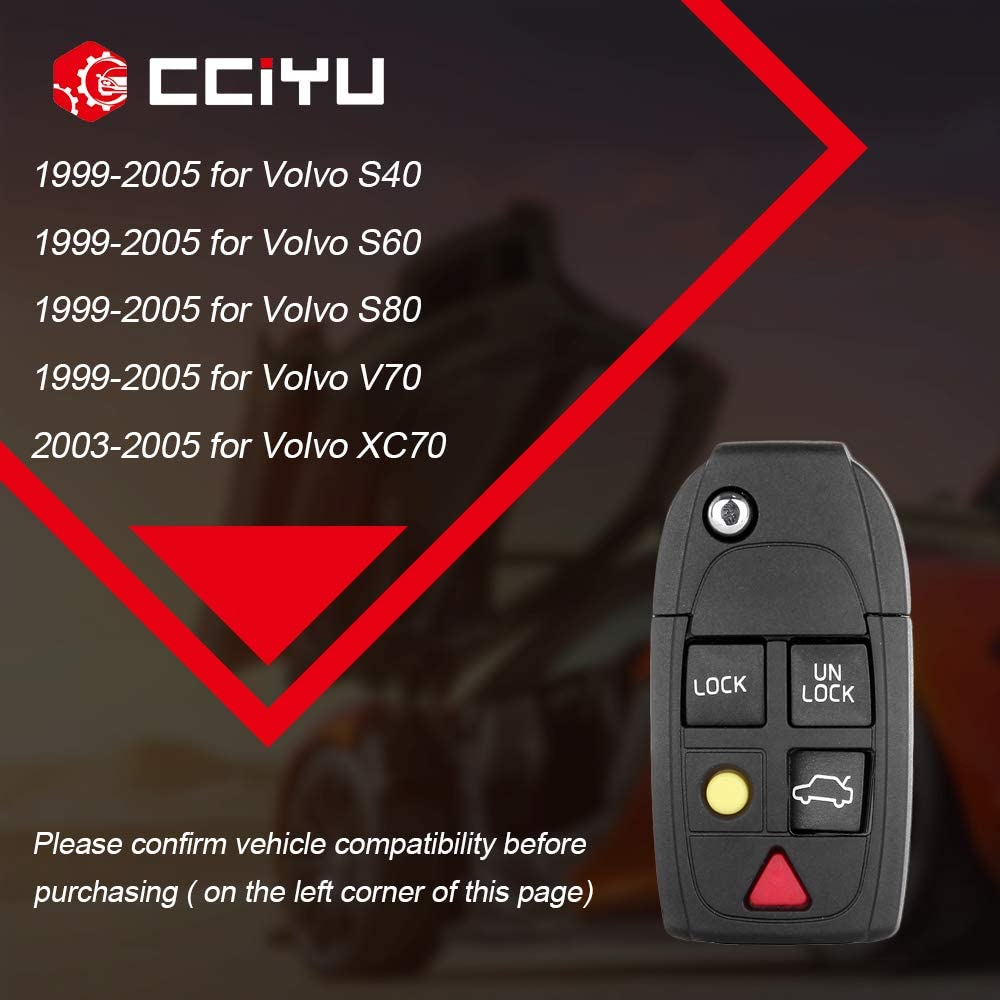 LQNP2T-APU cciyu 2PCS Uncut 5 Buttons Keyless Entry Remote Fob Case Replacement fit for Volvo S40 S60 S80 V70 XC70 XC90 C70 S90 V90