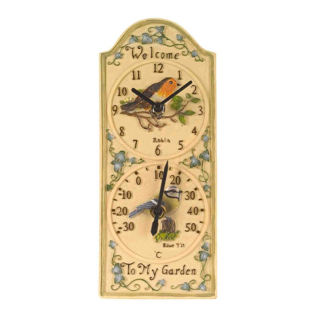 Outside In Birdberry Wall Clock & Thermometer 12 x 5\