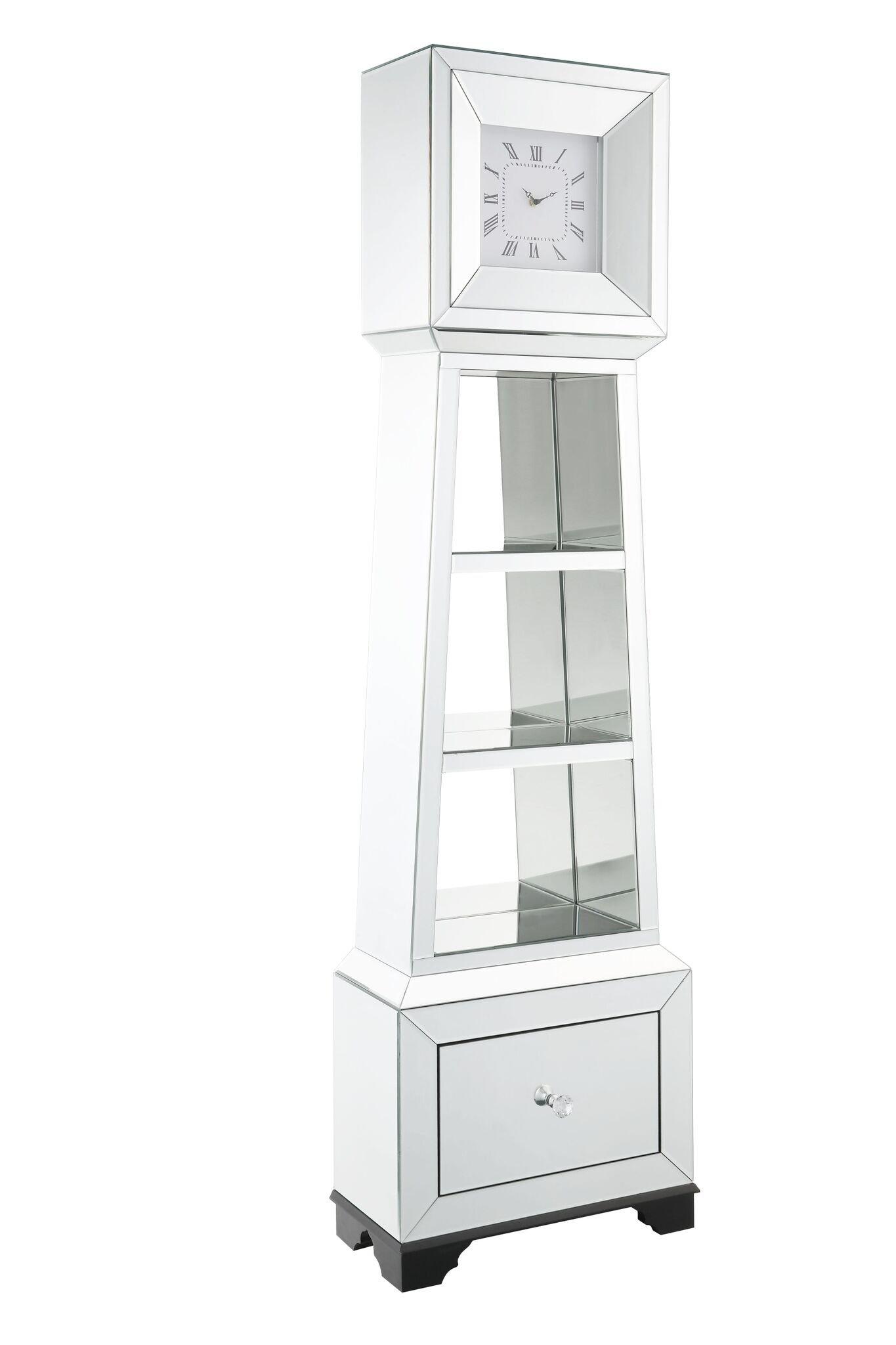 Major-Q 9097048 63'' H Modern Glam Style1 Drawer Beveled Mirror Case Frame Wooden Bracket Feet Grandfather Floor Clock