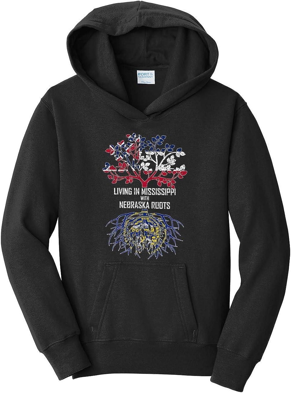 Tenacitee Girls Living in Mississippi with Nebraska Roots Hooded Sweatshirt