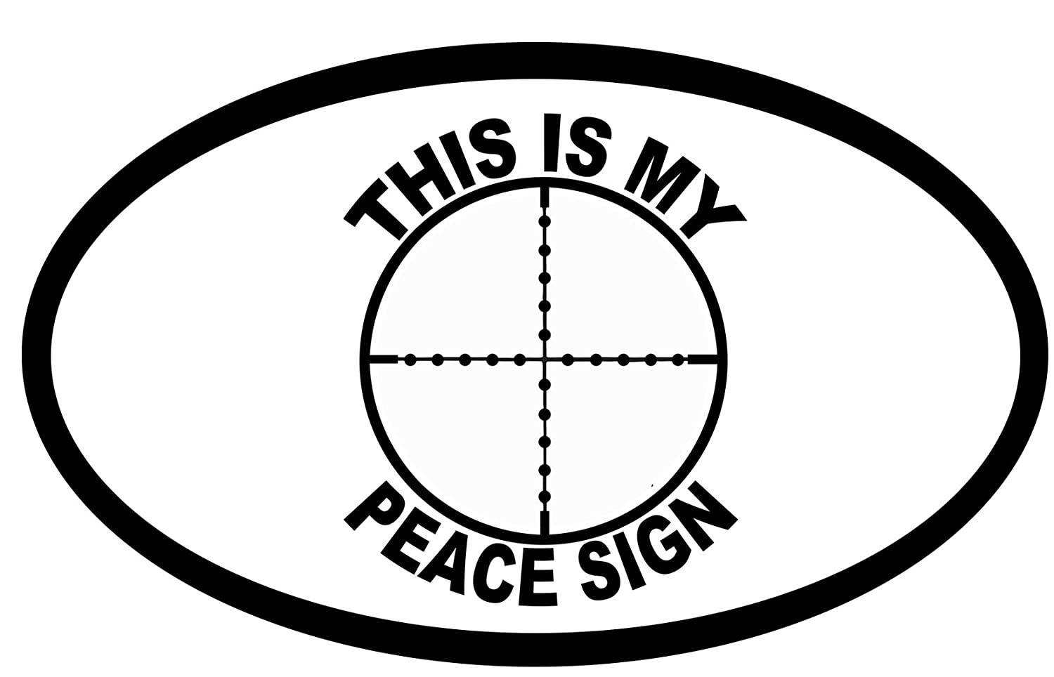 Amazon this is my peace sign bumper sticker gun target cross amazon this is my peace sign bumper sticker gun target cross hairs oval car decal 5 x 3 automotive biocorpaavc Choice Image