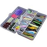 Kit de iscas artificiais LIOOBO com 101 peças, de aço carbono, multifuncional, caixa de pesca, iscas de água doce para pescad