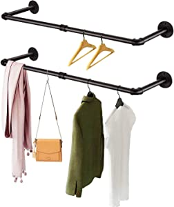 """SERENITA Industrial Pipe Clothing Rack 41.0"""" Set of 2. Heavy Duty Black Iron Pipe Clothing Garment Hanging Rod Bars. Wall Mounted. Closet Laundy 2 Pack"""