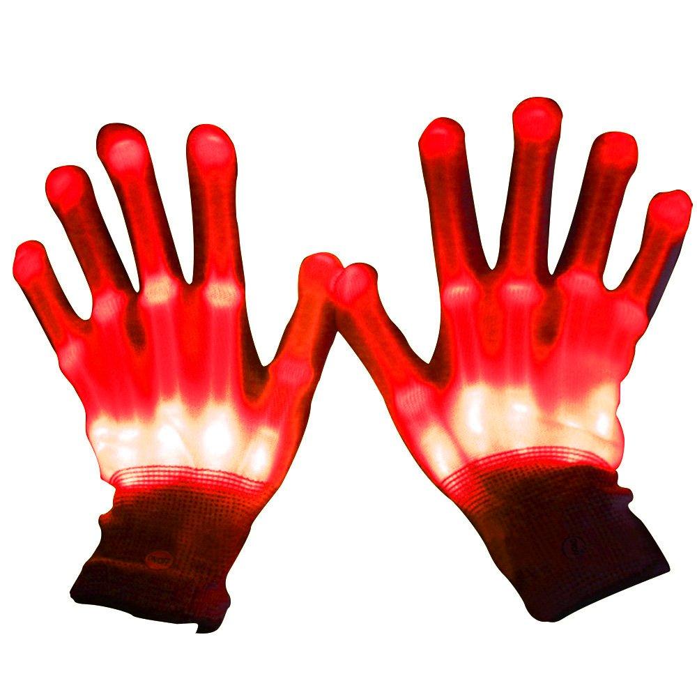1 Par Guantes con iluminación LED, Brillantes intermitentes algodón dedo guantes de mano de luces colorida para bailar carnaval concierto Halloween Party (Rojo) Gosear