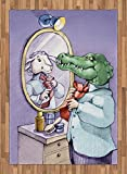 Cartoon Area Rug by Lunarable, A Crocodile Knotting His Tie Looks in Mirror and Sees Himself As Sheep Fun Cartoon, Flat Woven Accent Rug for Living Room Bedroom Dining Room, 5.2 x 7.5 FT, Puple Green
