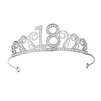 18a aleación y Rhinestone número cumpleaños corona peine ...