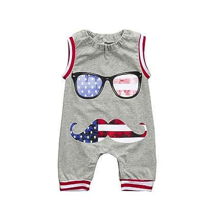 b22484f89 US Flag Rompers - Franterd Baby Harem Pants Overalls Sleeveless Beard &  Glasses Print Jumpsuits Toddler
