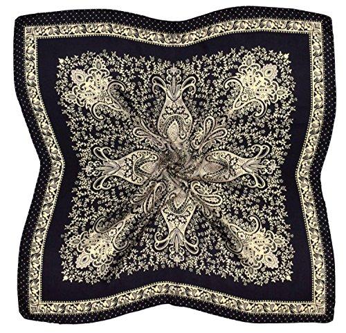 Black Ecru Paisley Printed Fine Silk Square Scarf (Printed Silk Bandana)