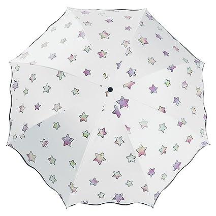 NectaRoy Paraguas Cambiador de Color Creativo Patrón de Estrella, Paraguas plegable clásico plegable de viaje