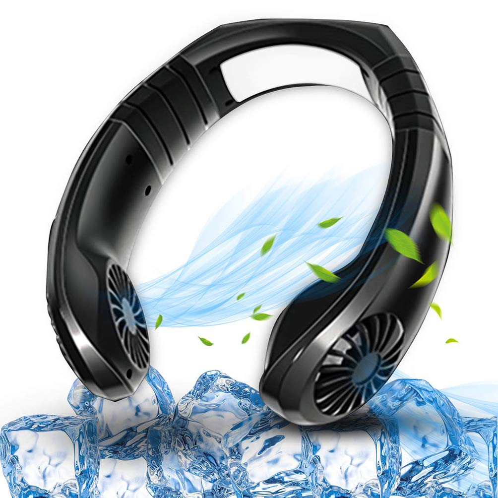 NAQIFU Hand Free Personal Cooling Fan Portable Neckband Mini Neck Air Cooler USB Battery Rechargeable Headphone Design Wearable 3 Speeds Adjustment Head 45° Rotate for Office Travel Outdoor Sports by NAQIFU