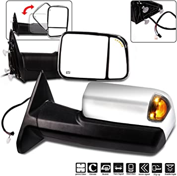 Powered Glass Chrome Pair Set Paragon Towing Mirrors for 2010-18 Dodge Ram 1500//2500//3500 Temp Sensor Turn Signals Puddle Light Heated