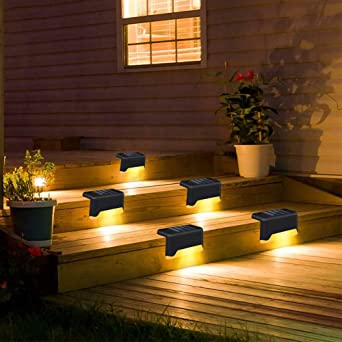 4pcs Solar LED Bright Deck Lights Outdoor Garden Yard Railing Decks Path Lamp