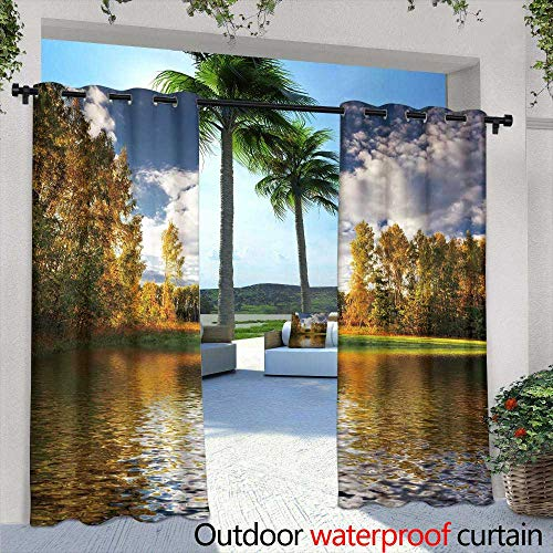 Lightly Indoor/Outdoor Single Panel Print Window Curtain,Beautiful Greek Islands Series syros,W108 x L84 Outdoor Patio Curtains Waterproof with Grommets (Tuscan Series Island)