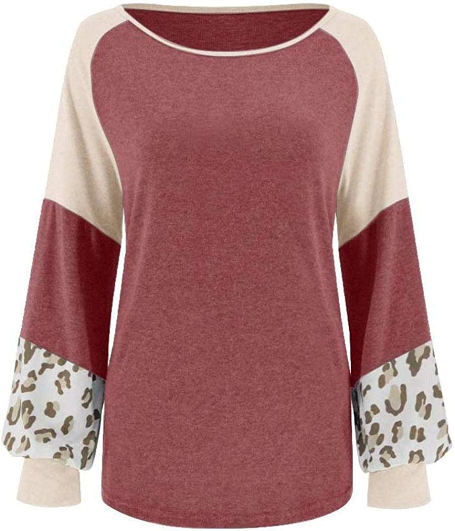 Langle Women Casual O-Neck Long Sleeve Patchwork Pullover Loose T-Shirt Top Knits /& Tees