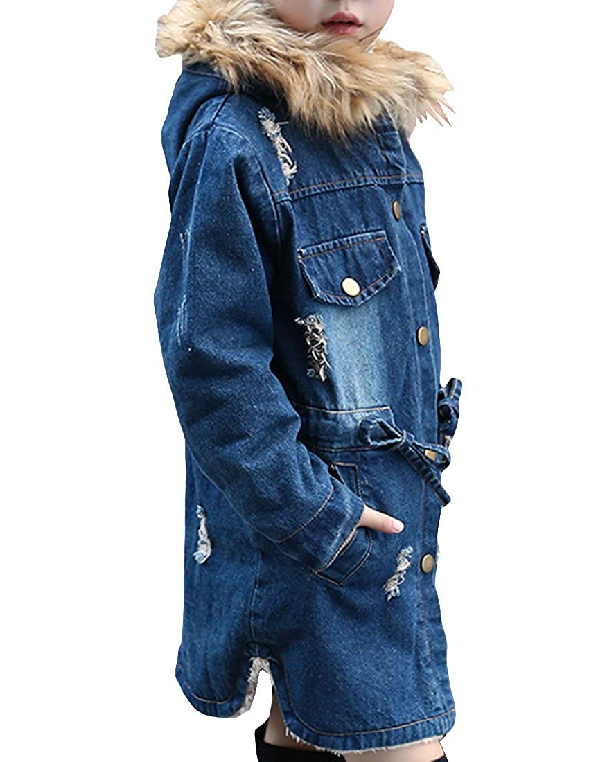 MFrannie Girl Hair Hood Durable Denim Fleece Ripped Warm Fall Jacket