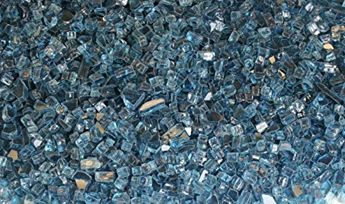 Fire Glass for Fire Pits Aqua Blue 1/4'' for Reflective Glass Pellets (80Lbs)
