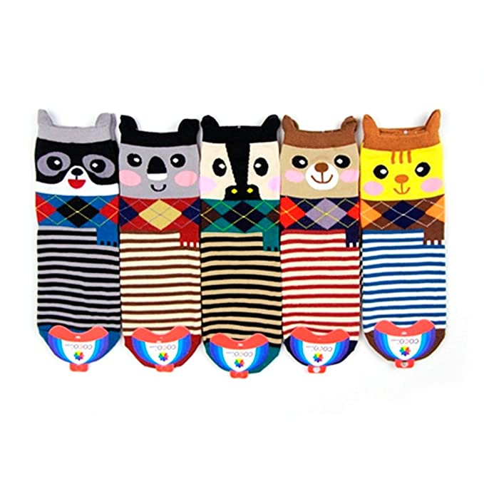 5 pares de Creative Cute Animal Mapache Cat Vaca Koala Algodón Calcetines De Rayas: Amazon.es: Ropa y accesorios
