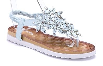 e28c02a400e4a8 Schuhtempel24 Damen Schuhe Zehentrenner Sandalen Sandaletten blau flach  Ziersteine