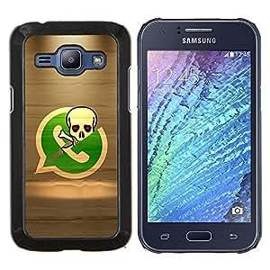 TECHCASE---Cubierta de la caja de protección para la piel dura ** Samsung Galaxy J1 J100 ** --Esqueleto del pirata Teléfono