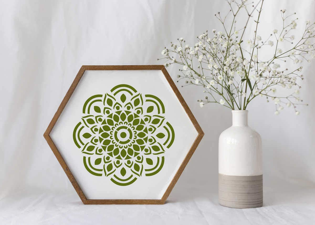 Wall and Furniture Painting, 6 x 6 in Daily ART Mandala Stencils 8 in Pack Reusable for Crafts