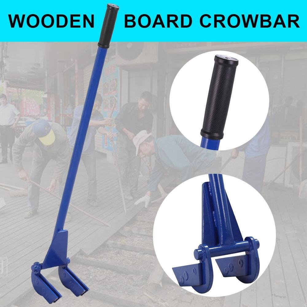 go2buy Heavy Duty Steel Pallet Buster Pallet Pry Bar-Deck Wrecker with Double Demolition Forks wth 41 Handle Blue