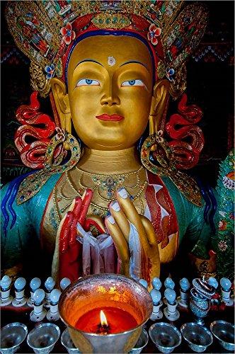 Maitreya Buddha at Thiksey Monastery, Leh, Ledakh, India by Ellen Clark/Danita Delimont Laminated Art Print, 25 x 38 inches