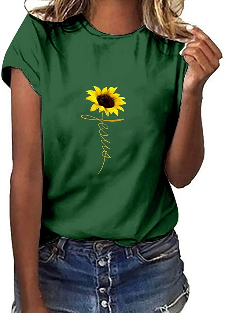 Vedolay Shirts for Women Fashion Round Neck Plus Size Sunflower Print Tee Shirt Casual Short Sleeve T-Shirt Top Blouses