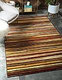 Unique Loom Barista Collection Modern Multi Striped Contemporary Beige Area Rug (4′ x 6′) For Sale