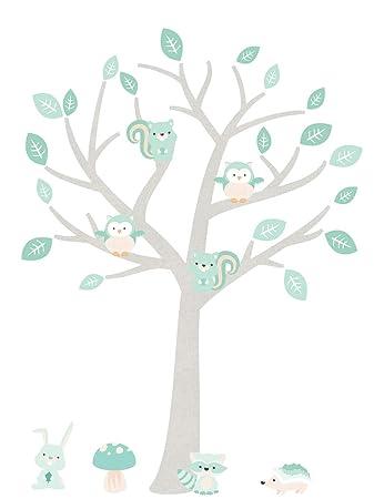 DecoDeco Wandtattoo Baum Baby Woodland Minze. Wandbild im Baummotiv für das  Babyzimmer mit niedlichen Tieren in dezent unaufdringlichen Farben. ...