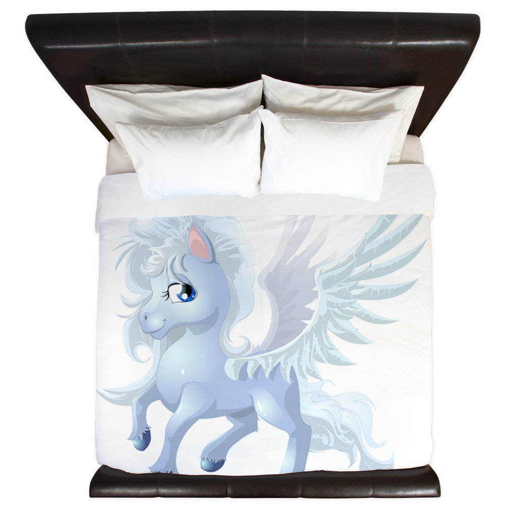 King Duvet Cover Cartoon White Winged Pegasus
