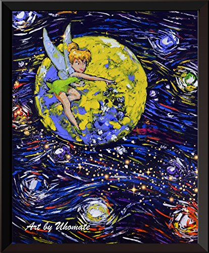 Uhomate Peter Pan Never Grow Up Princess Tinkerbell Vincent Van Gogh Starry Night Posters Home Canvas Wall Art Anniversary Gifts Baby Gift Nursery Decor Living Room Wall Decor A033 (8X10)